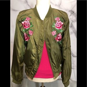Love Tree Green Embroidered Bomber Jacket
